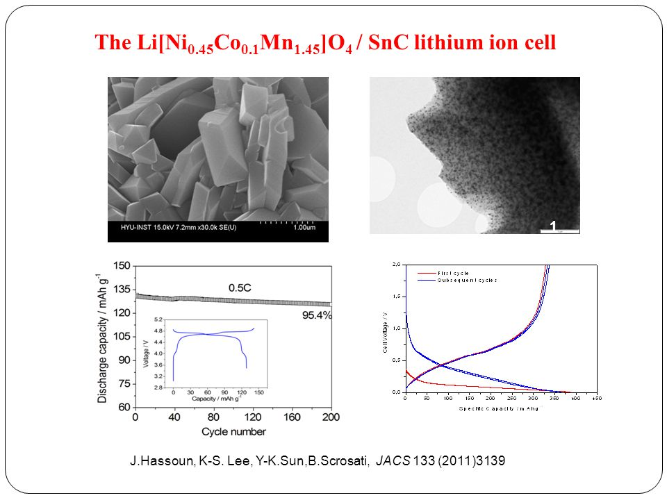 The Li[Ni0.45Co0.1Mn1.45]O4 / SnC lithium ion cell
